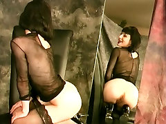 Lusty raven with tight pink pussy gets wet alone