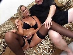 Big nipple blonde MILF takes on dark and light dicks