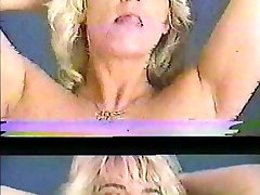 Blonde milf strips and fingers pussy then gives head