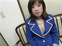 Cute short haired young asian in garter belt sucks and gets fucked doggy style