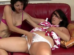 Mature lesbian mom fucks another hairy mom