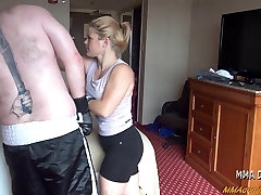 Beautiful Blonde Girl Beating Boxing Big Guy