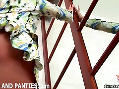 Petite teen Miki flashing her little panties