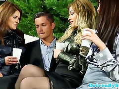 Glamour Marica Hase fists two babes while sucking dick