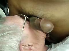 Silver grandpa suck black cock