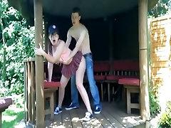 Naughty couple fuck in public