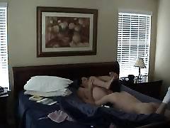 Naked Brunette MILF gets her pussy eaten in bed