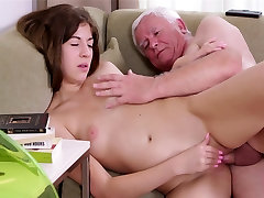 Old man fucks with young pretty