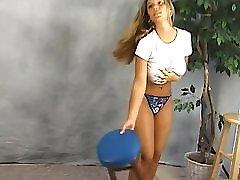 Big Tits girl wet T shirt braless bouncing