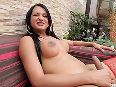 Lovely Latin tranny with hungry cock