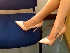 girl in pink heels