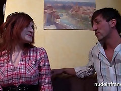 Busty french redhead babe riding a cock with her ass