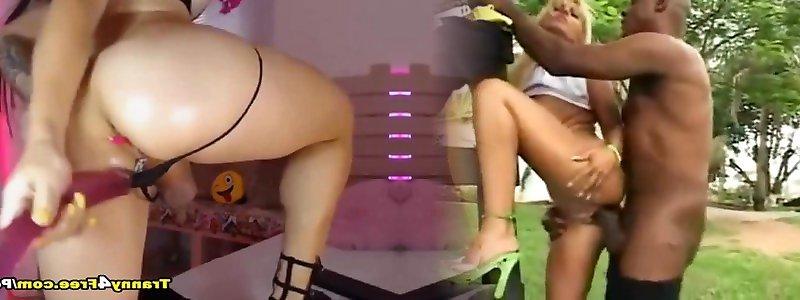 Sexy Transe Mara Nova bekommt ihre Arschspalte geleckt und hart gefickt